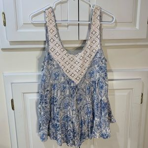 Free People lace and blue floral tank